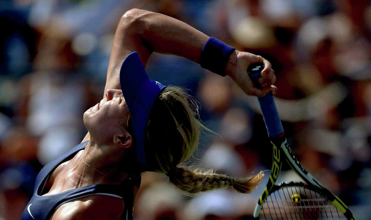 Eugenie Bouchard serves during the first round of the U.S. Open on Tuesday in New York.
