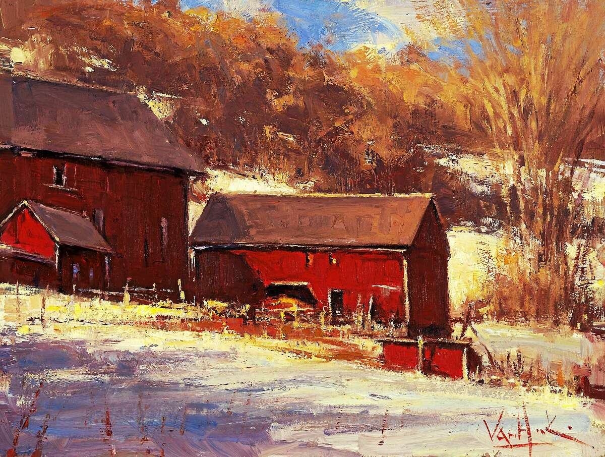 """Images courtesy of the artists George Van Hook, """"Red Barns,"""" oil, 12 x 16 inches"""