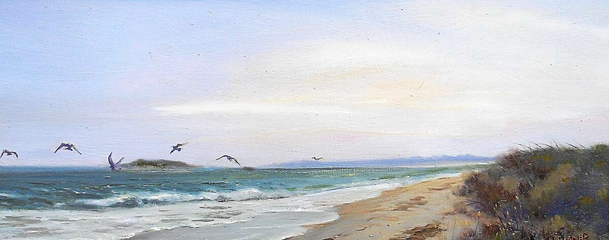 """James Magner """"Birds Working the Surf, Madison"""" Oil 8 x 18 inches"""