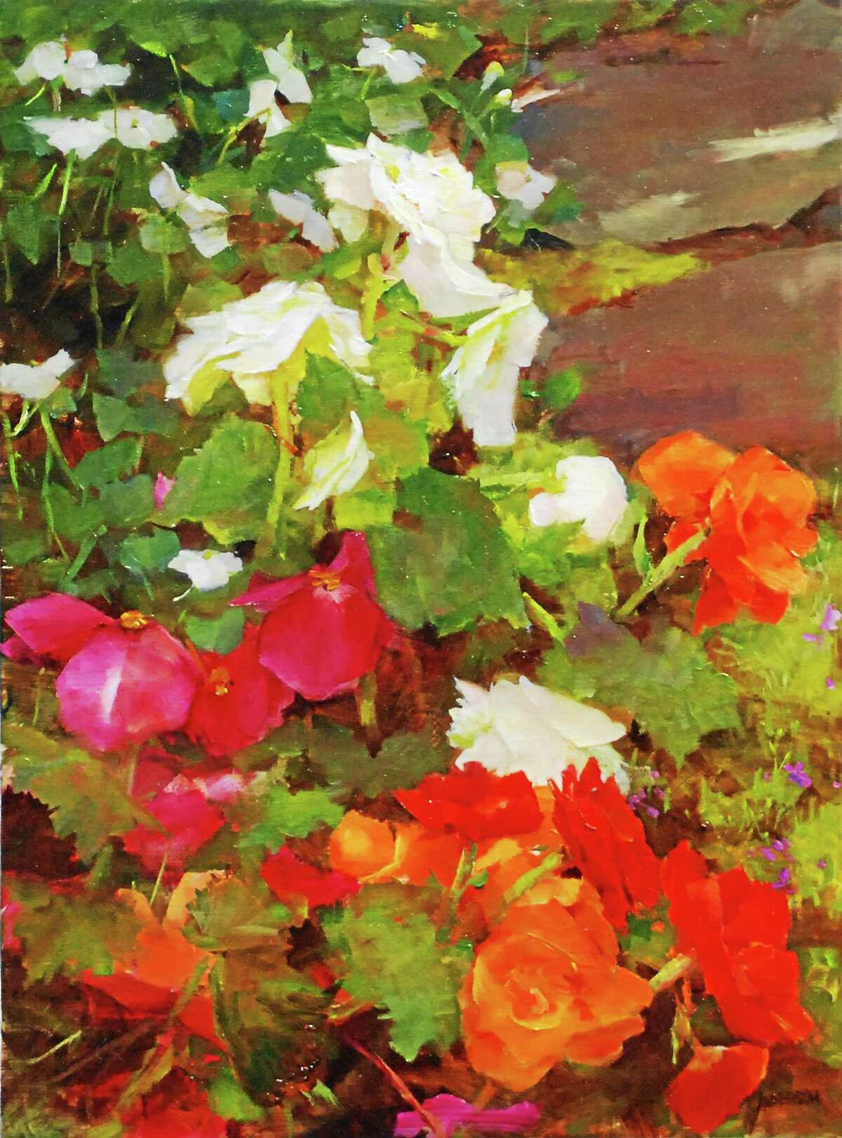 """Kathy Anderson, """"Begonias and Impatiens"""" oil 16 x 12 inches."""