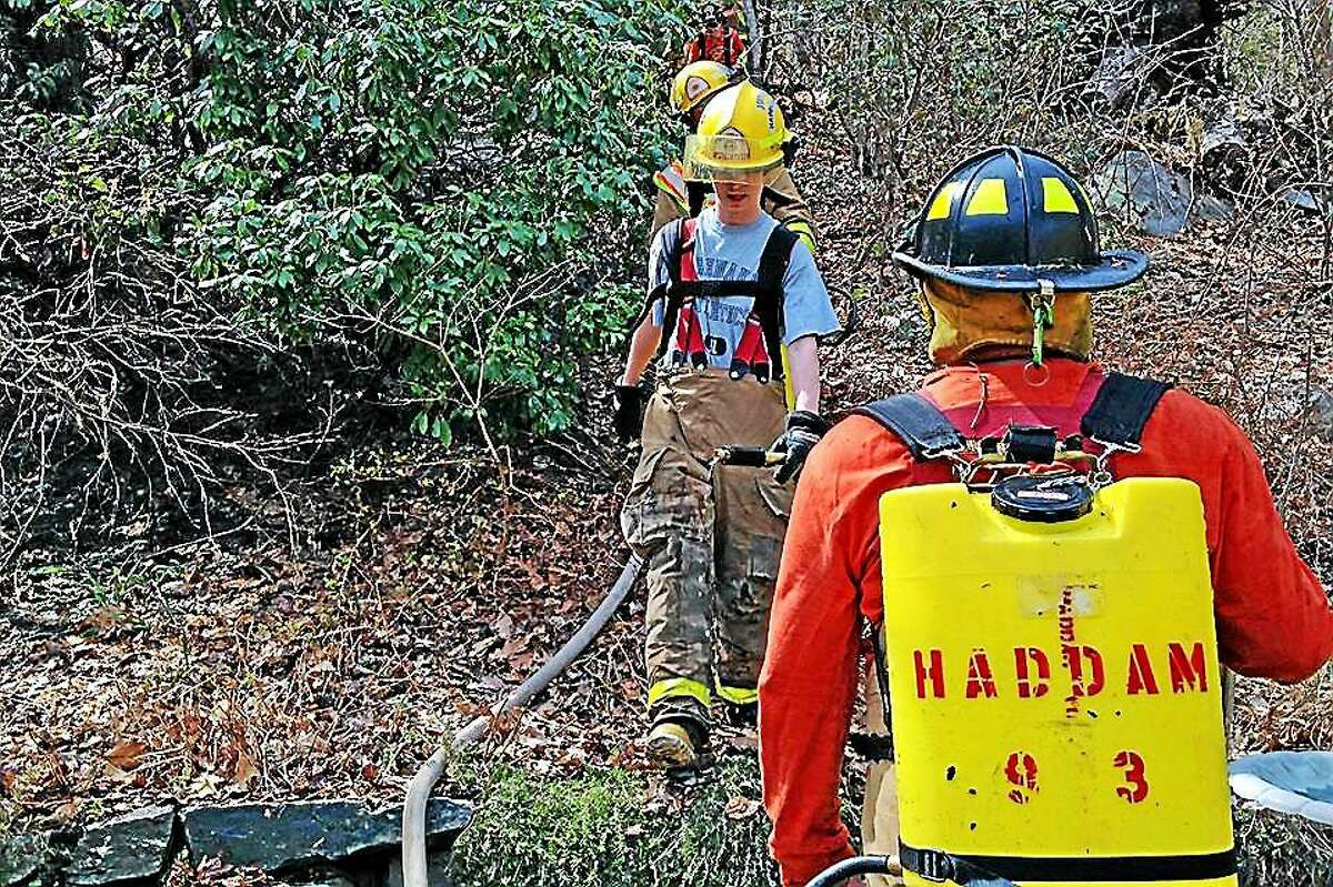 Courtesy Olivia Drake Haddam Fire Co. crews helped knock down a brush fire this week.