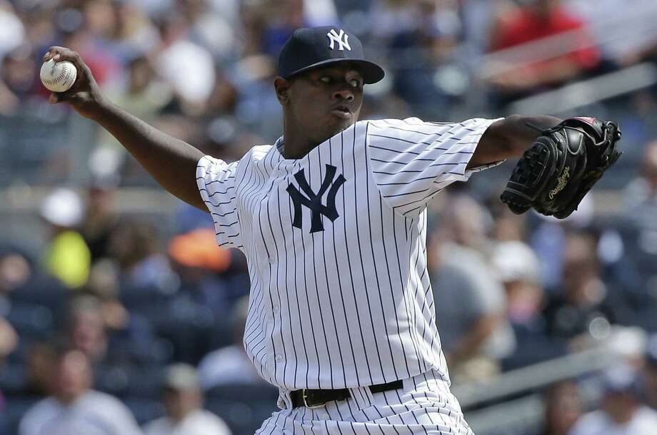 Yankees pitcher Luis Severino delivers against the Indians during the second inning Saturday in New York. Photo: Julie Jacobson — The Associated Press  / AP