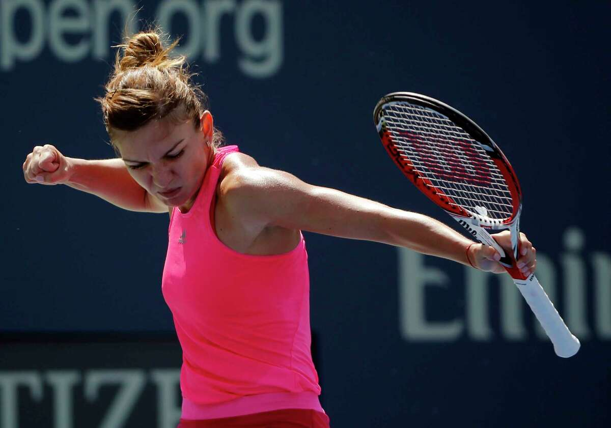 Simona Halep reacts after a shot against Danielle Rose Collins on Monday in the first round of the U.S. Open in New York.