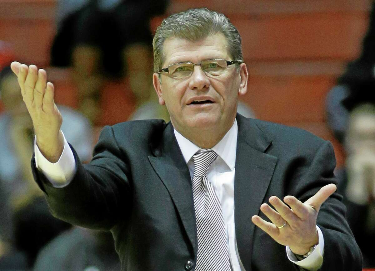 UConn coach Geno Auriemma reacts to a call in the first half of a game at Cincinnati on Feb. 1.