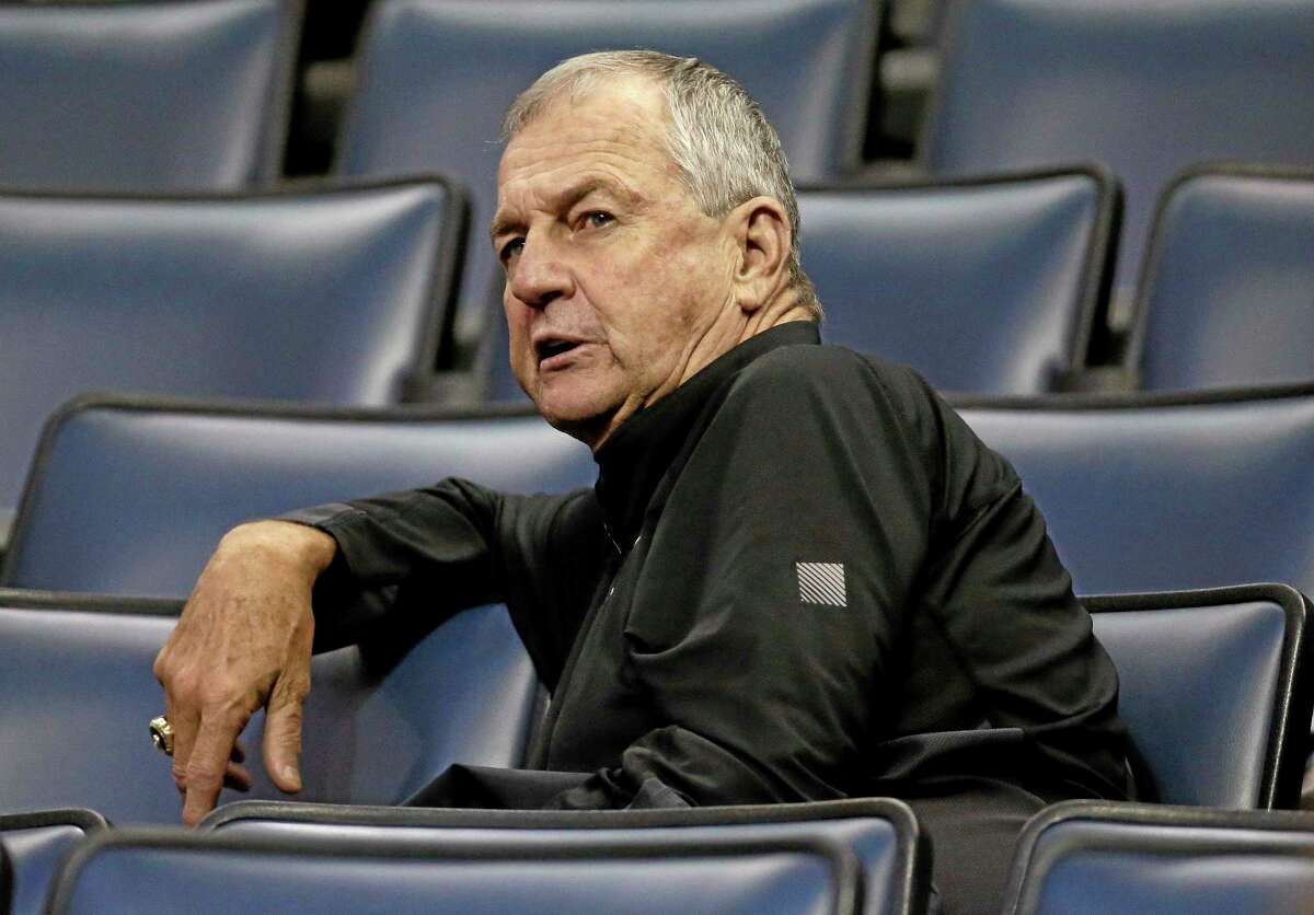 Former UConn coach Jim Calhoun watches a game between South Florida and Rutgers at the American Athletic Conference tournament on Wednesday in Memphis, Tenn.