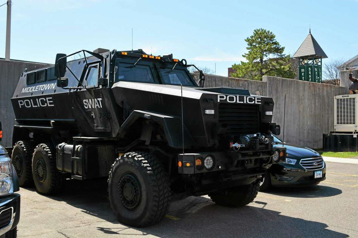 The Middletown Police Department's Mine-Resistant Armor Protected vehicle sits in the parking lot behind headquarters. Members of the community have expressed concerns to Chief William McKenna in recent weeks about a potential for militarized action.