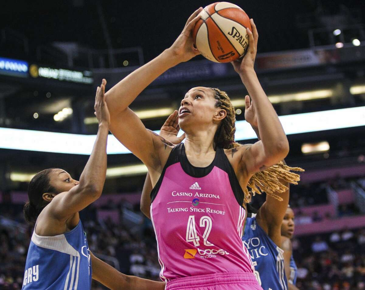 Mercury center Brittney Griner goes up for a shot against the Minnesota Lynx during an Aug. 7 game in Phoenix.