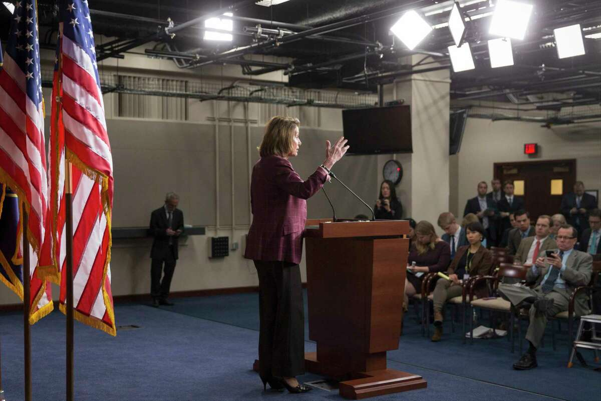 House Minority Leader Nancy Pelosi of Calif. updates reporters as Congress works to meet deadlines for funding the government, Friday, Dec. 11, 2015, on Capitol Hill in Washington.