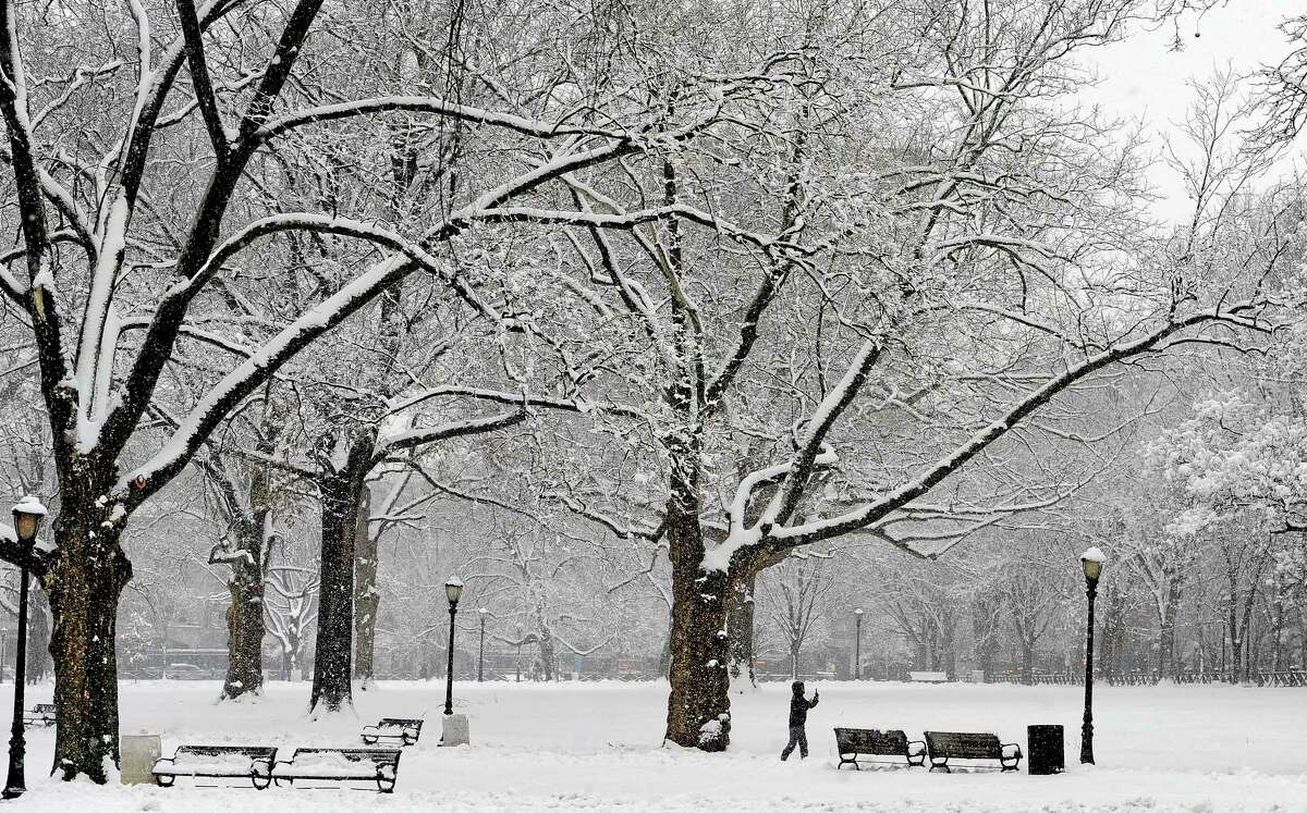 In this Feb. 3, 2014 file photo, a woman takes photos of the snow on the New Haven Green.