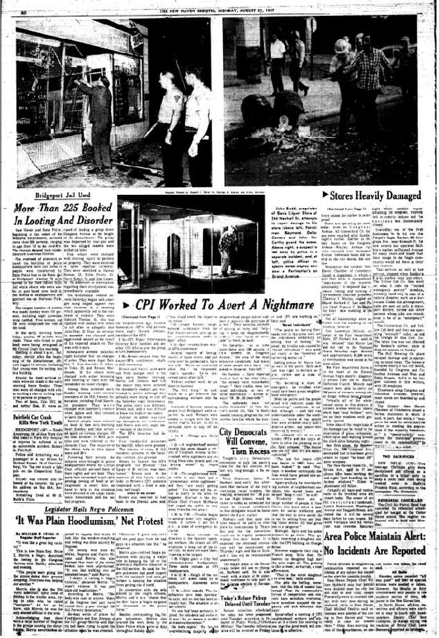 Archive pages from the New Haven Register related to the 1967 riots. Photo: NHR Archives