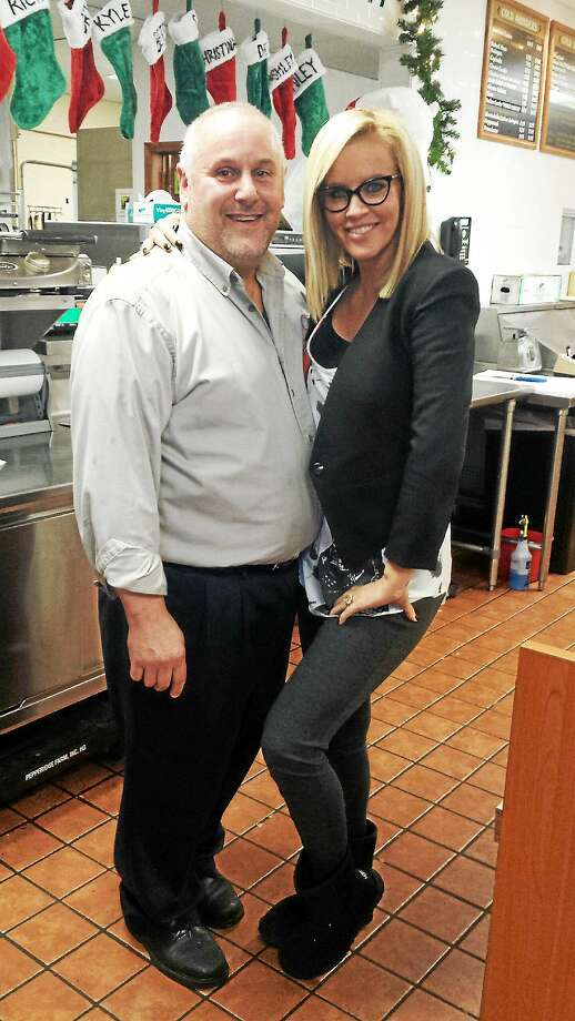 Jenny McCarthy visits Nardelli's Grinder Shoppe in Middletown and meets owner Steven Katz. Photo: Courtesy Photo