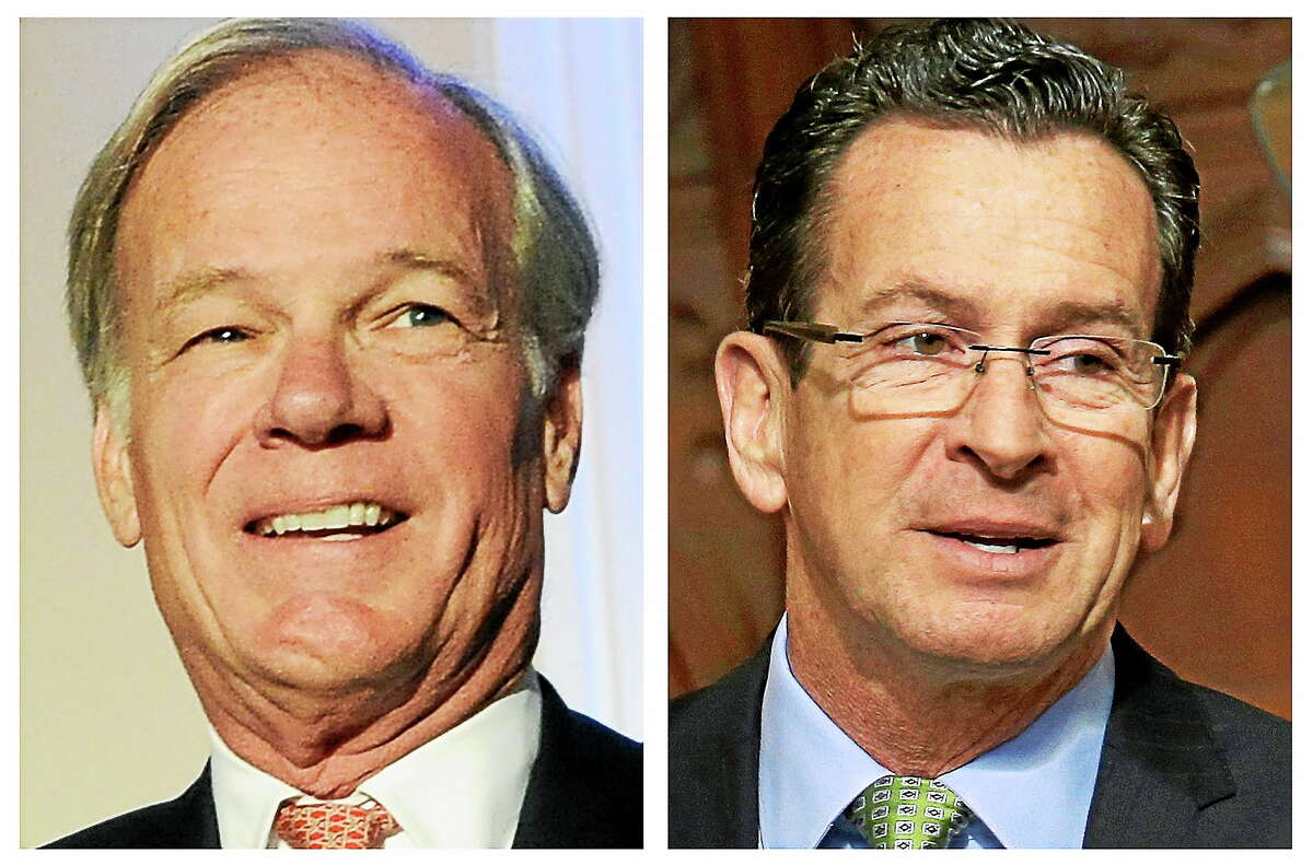 This pair of 2014 photos show Republican Tom Foley, left, who will challenge incumbent Democrat Gov. Dannel P. Malloy, right, in the general election on Nov. 4.