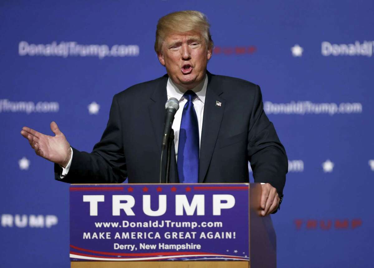 """In this Aug. 19, 2015, file photo, Republican presidential candidate and businessman Donald Trump speaks in Derry, N.H. Trump sells himself as a bold empire builder. Yet, for all his bravado — """"I've done an amazing job,"""" the Republican White House hopeful boasted during his announcement speech — a review of the billionaire's financial filings and recent deals suggests he's no swashbuckler."""