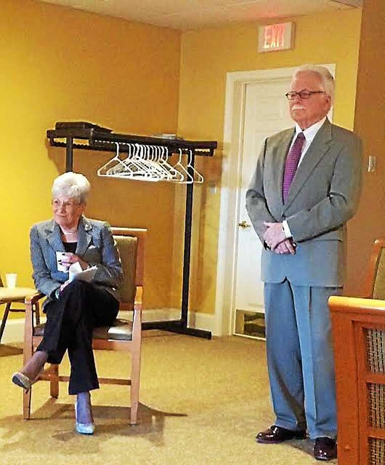 Lt. Gov. Nancy Wyman addresses members of the Middlesex County Chamber of Commerce Wednesday morning at the Village at South Farms in Middletown. At right is Chamber Small Business Counselor Paul Dodge. Photo: Brian Zahn — The Middletown Press