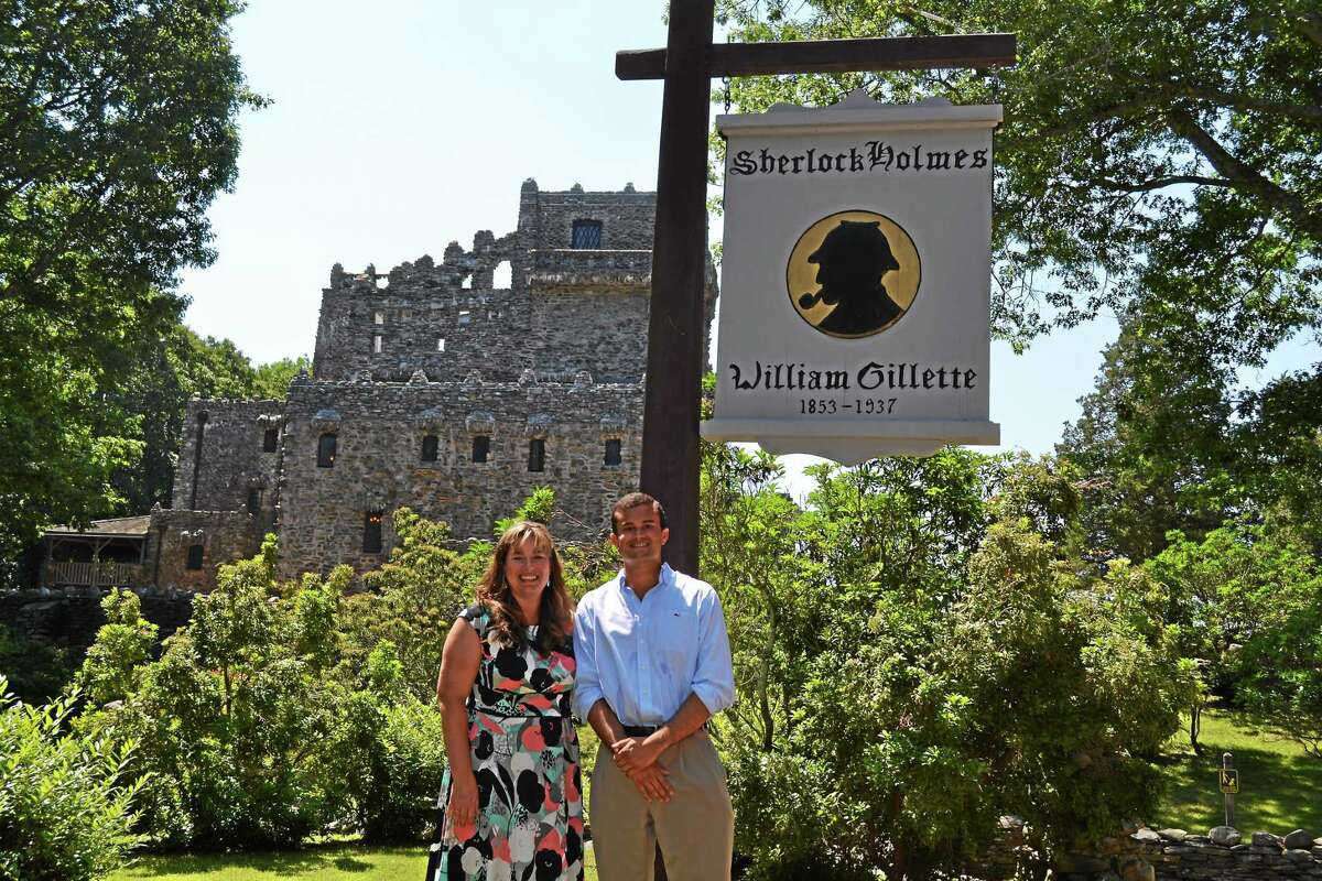 Submitted photo State Rep. Melissa Ziobron, left, and state Sen. Art Linares toured Gillette Castle State Park in East Haddam on July 16 with state environmental officials and discussed operations at the state park. Individuals of all ages, community groups, youth groups, special interest groups, corporations, schools, agencies and families are all welcomed to choose and adopt a state park. Contact Wanda Torres at 860-418-5963 or via e-mail at Wanda.Torres@CT.Gov.