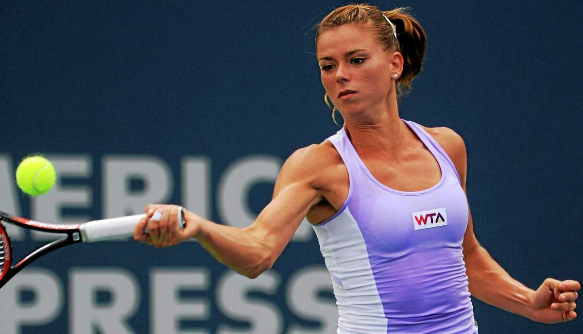 Bob Child / For the Register Camila Giorgi fell to Magdalena Rybarikova 6-2, 6-4 in the semifinals of the Connecticut Open Friday.