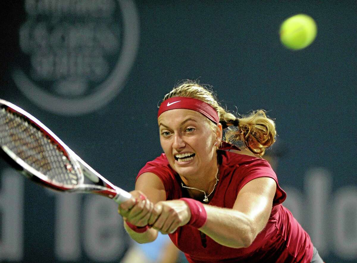 Petra Kvitova stretches for a backhand during her semifinal win over Sam Stosur on Friday night at the Connecticut Open in New Haven.