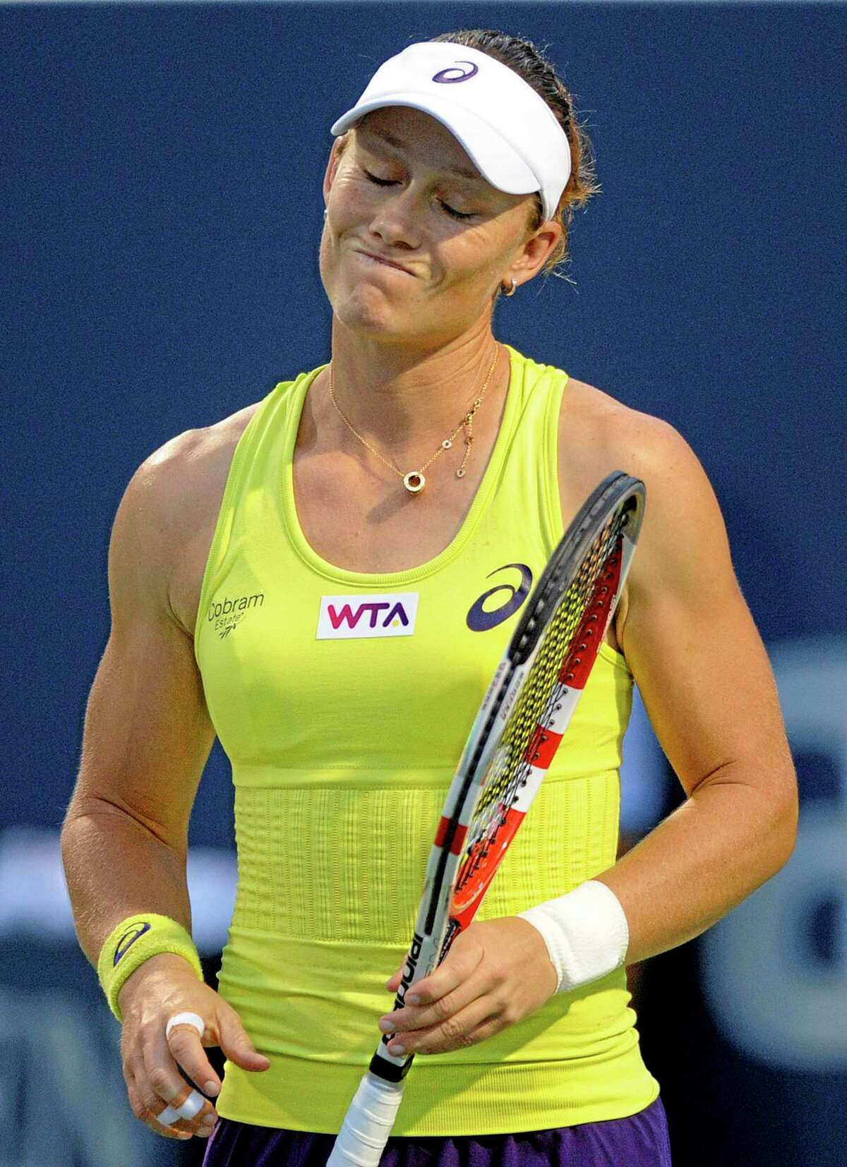 Sam Stosur reacts during her semifinal loss to Petra Kvitova at the Connecticut Open Friday night in New Haven.