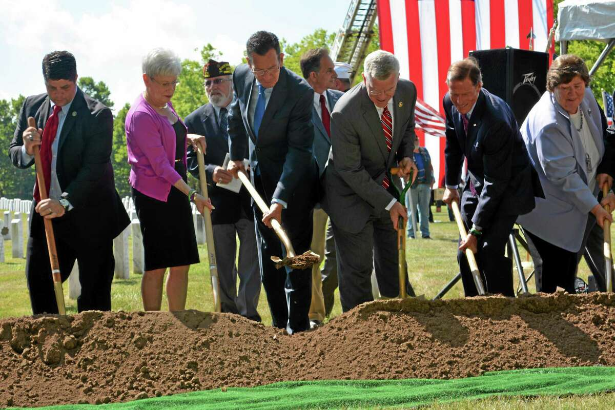 Gov. Dannel P. Malloy speaks during a ceremonial groundbreaking at the State Veterans Cemetery in Middletown on Wednesday.