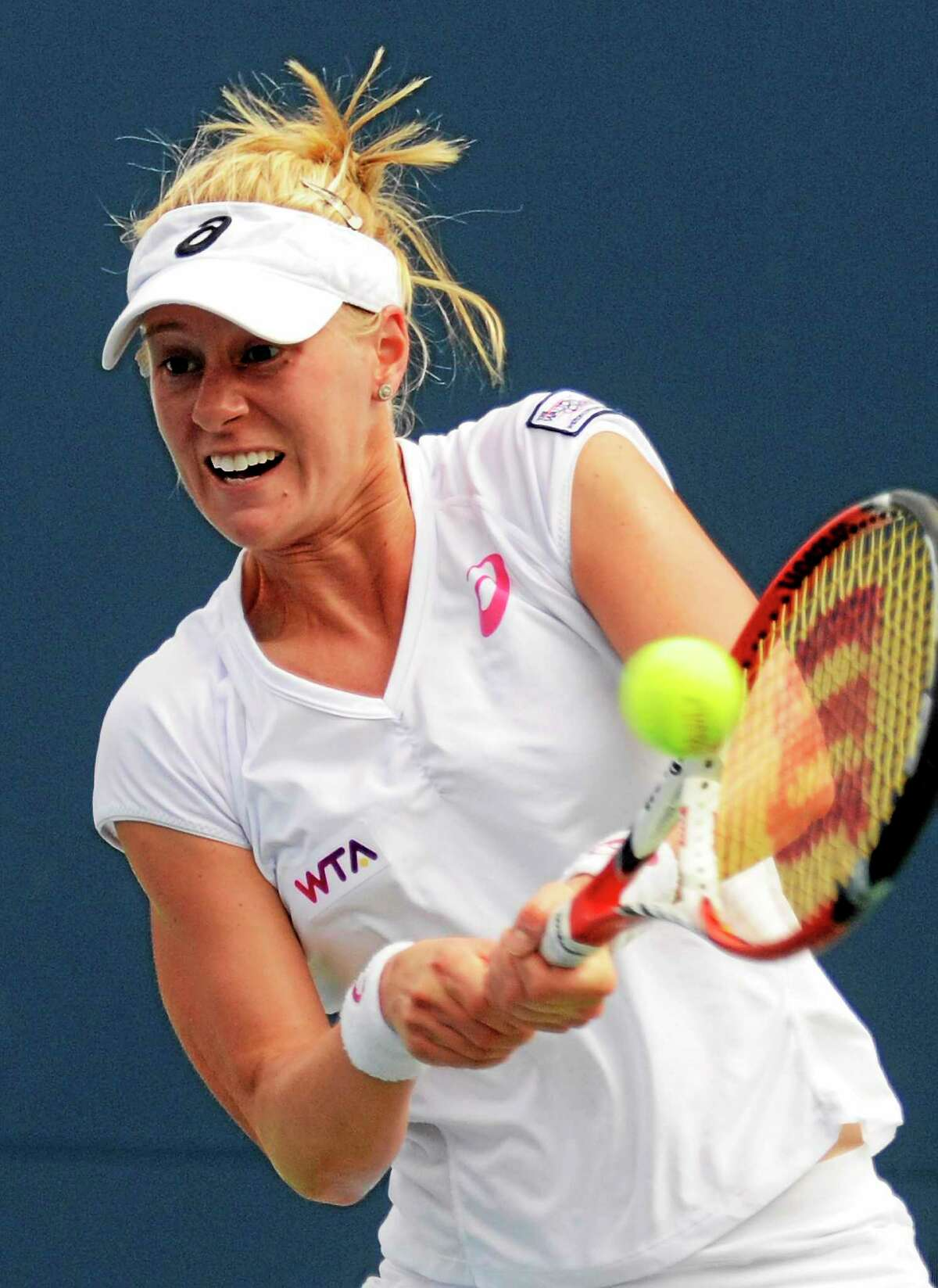 Alison Riske, the final American in the field, was eliminated in the Connecticut Open quarterfinals on Thursday by Magdalena Rybarikova.