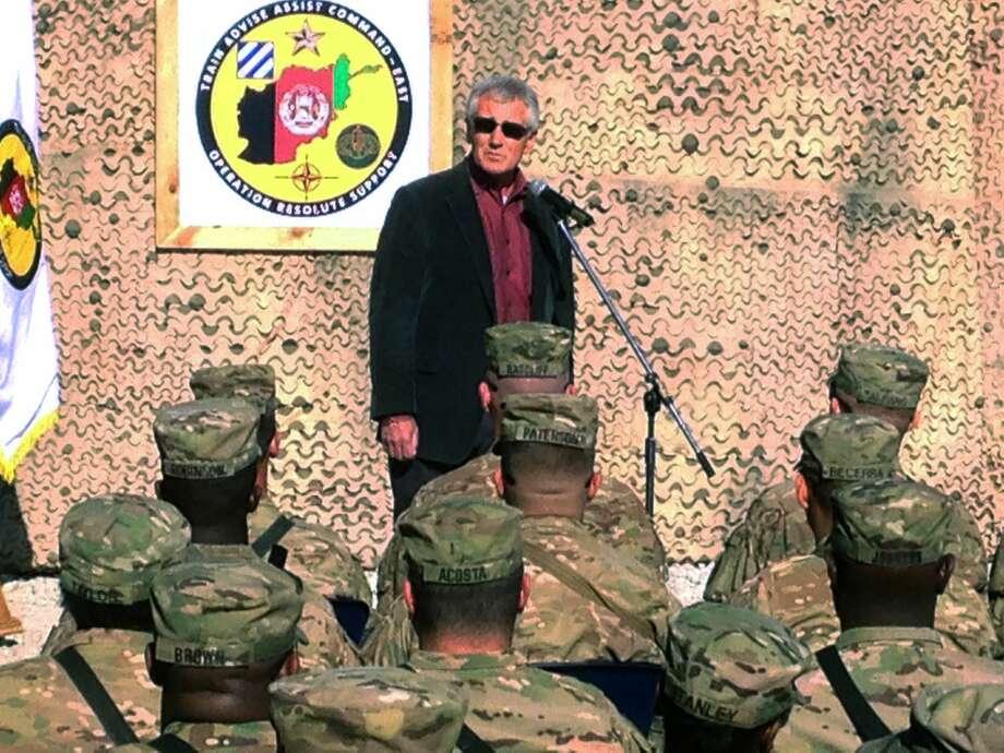 U.S. Defense Secretary Chuck Hagel speaks to U.S. and Polish troops at Tactical Base Gamberi in eastern Afghanistan on Dec. 7. Photo: AP Photo  / AP