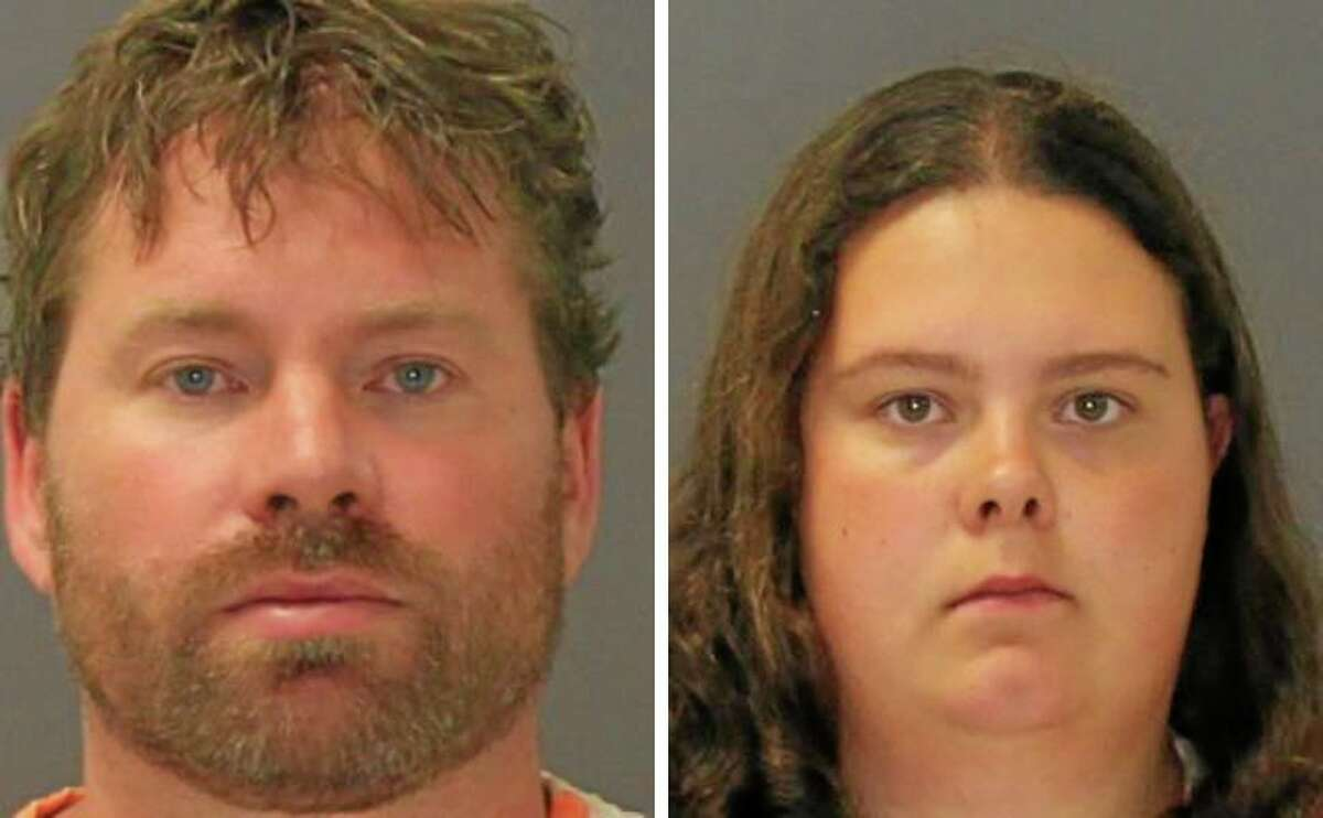 These images provided by the St. Lawrence County Sheriff's Office shows the booking photo of Stephen Howells II, left, and Nicole Vaisey, who was arraigned late Friday Aug. 15, 2014 on charges they intended to physically harm or sexually abuse two Amish sisters after abducting them from a roadside farm stand. (AP Photo/St. Lawrence County Sheriff)