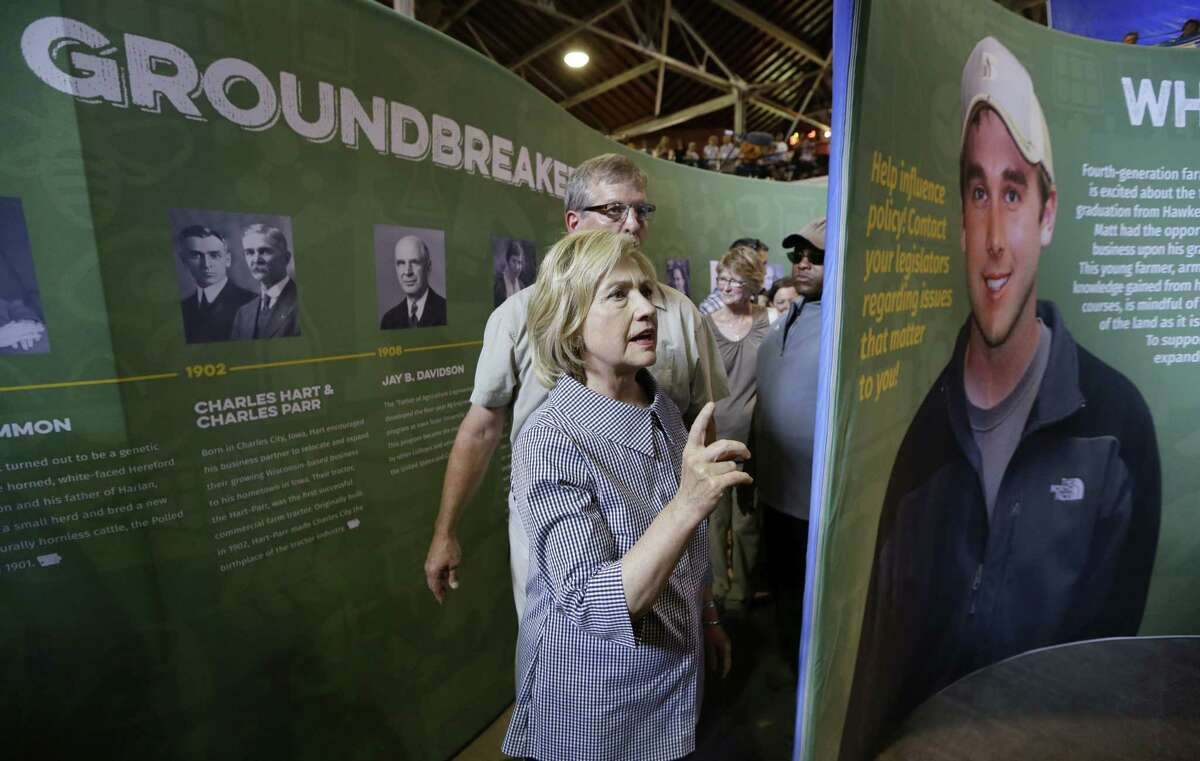 Democratic presidential candidate Hillary Rodham Clinton tours the Agriculture Building during a visit to the Iowa State Fair, Saturday, Aug. 15, 2015, in Des Moines, Iowa.