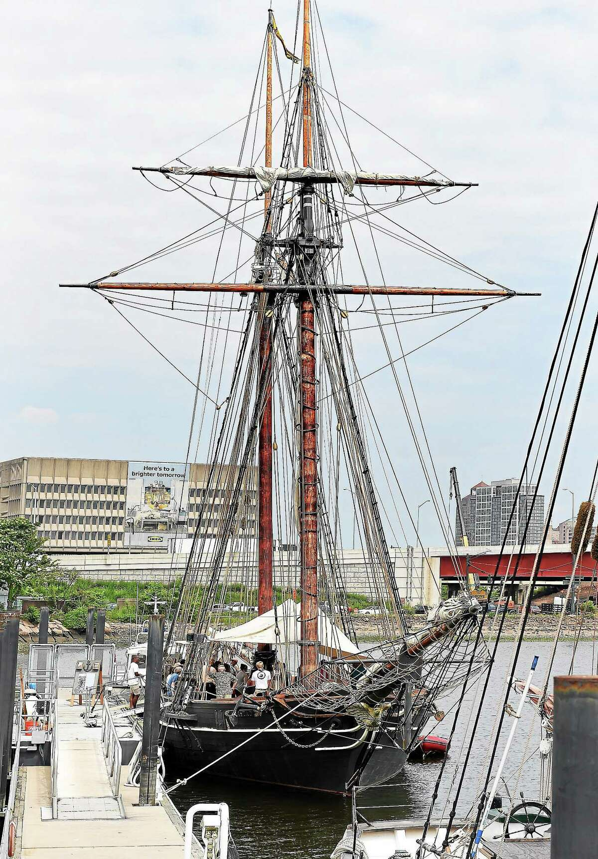 The Amistad is docked in New Haven Harbor during the July 2 homecoming ceremony. The boat will be in Long Island Sound for most of the summer, with many events and public trips planned.