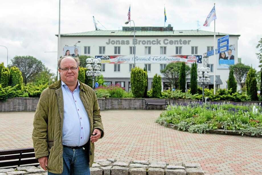 In this handout photo taken on Aug. 20, 2014, provided by the Savsjo municipality, Roy Gustafsson the co-founder of the Jonas Bronck Center, poses for a photograph outside the center in Savsjo, Sweden. The founder of The Bronx _ one of New Yorkís five boroughs _ is finally getting recognition in his native Sweden, where Jonas Bronckís home town on Saturday will celebrate the 375th anniversary of his arrival in America. (AP Photo/Ida Bengstsson) Photo: AP / Savsjo municipality