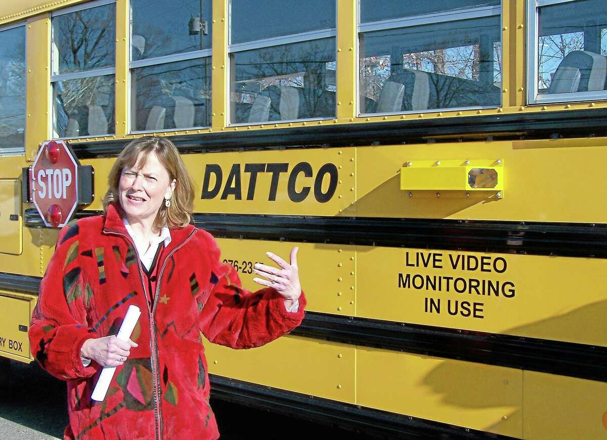 Patricia Charles, Middletown's superintendent of schools, describes a live video monitoring system installed on city school buses in this file photo.