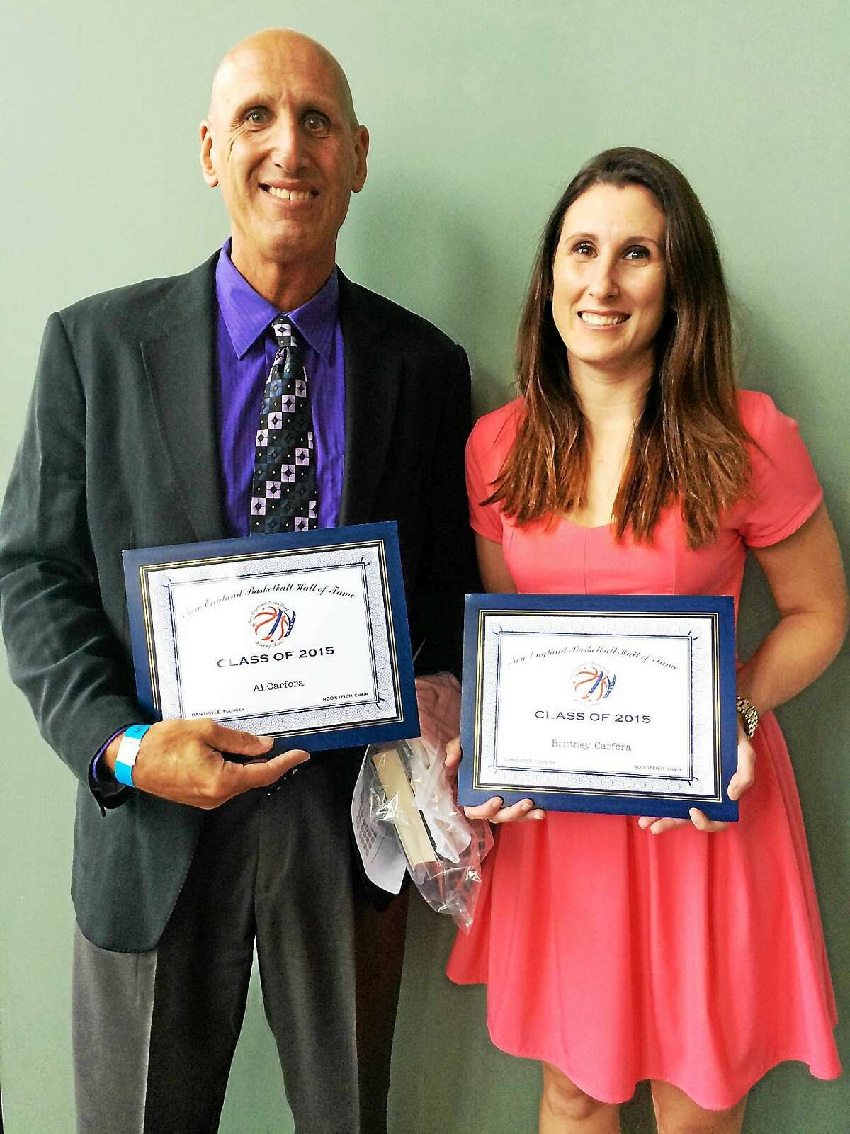 Branford's Al Carfora and his daughter, Brittney, were among the Class of 2015 honorees at the recent New England Basketball Hall of Fame induction dinner in Worcester.