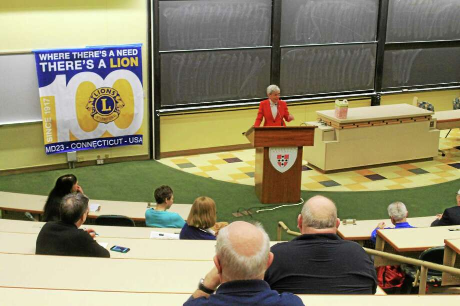 Lt. Gov. Nancy Wyman speaks at a women's symposium at Wesleyan on Saturday. Photo: Valerie Bannister — Special To The Press