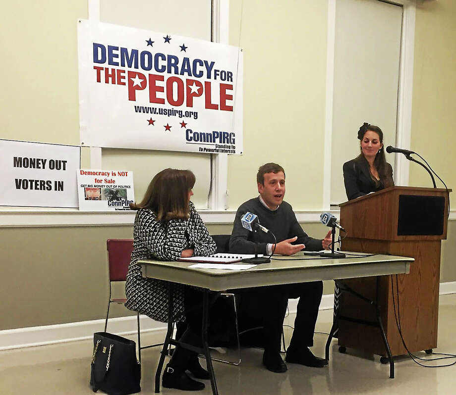 Last month, state Rep. Matt Lesser spoke to residents, and members of Common Cause and ConnPIRG at Middletown's deKoven House during a panel on local-level campaign finance reform. Photo: Courtesy Photo