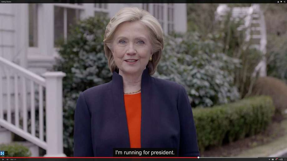 In this image taken from video posted to hillaryclinton.com on Sunday, April 12, 2015, Hillary Rodham Clinton announces her campaign for president. The former secretary of state, senator and first lady enters the race in a strong position to succeed her rival from the 2008 campaign, President Barack Obama. (Hillary For America via AP) Photo: AP / Hillary for America