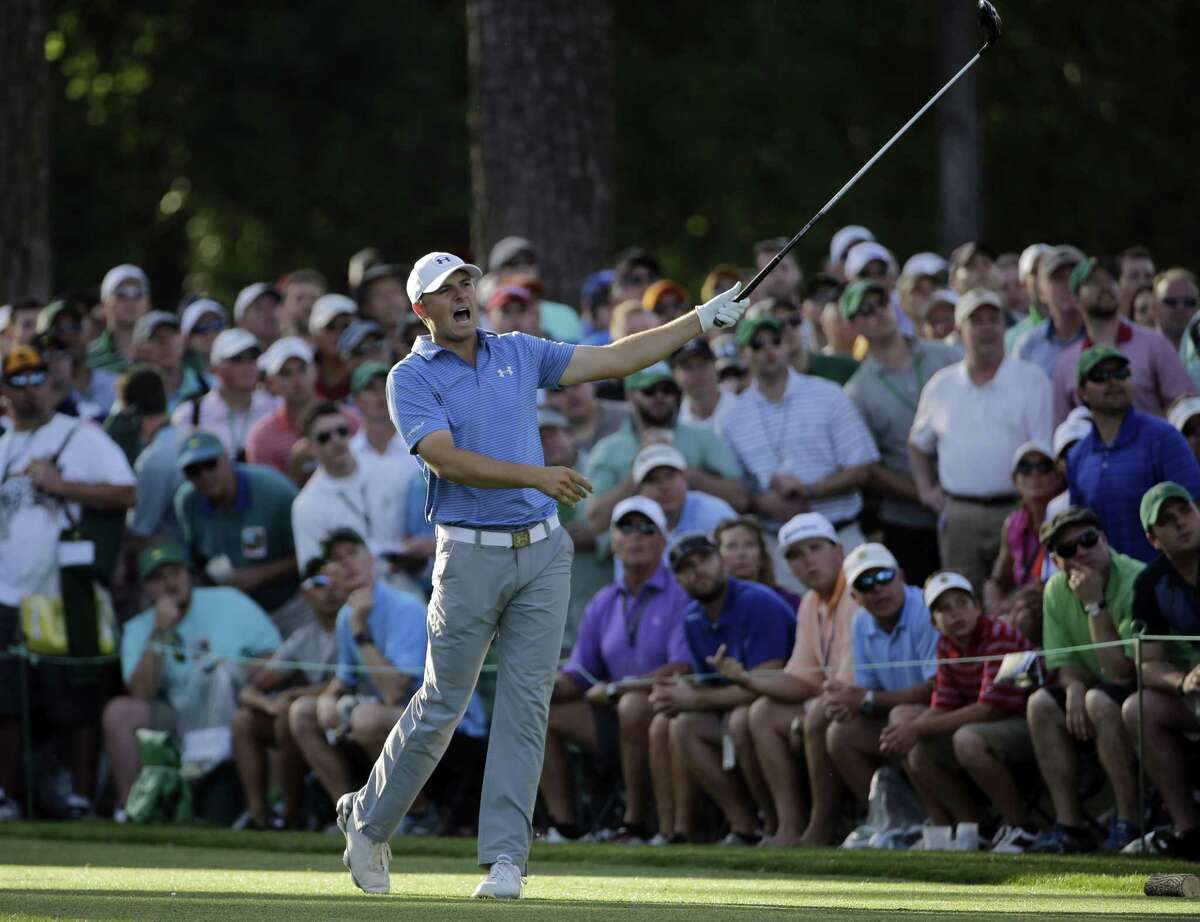Jordan Spieth yells out after teeing off on the 17th during the third round of the Masters on Saturday in Augusta, Ga.