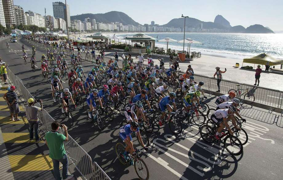 Athletes compete during the International Road Cycling Challenge test event, ahead of the Rio 2016 Olympic Games at Copacabana Beach, Rio de Janeiro, Brazil, on Sunday. Photo: The Associated Press  / AP