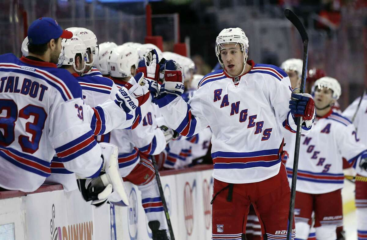 New York Rangers right wing Kevin Hayes celebrates his first-period goal with teammates during a 4-2 win over the Capitals on Saturday in Washington.