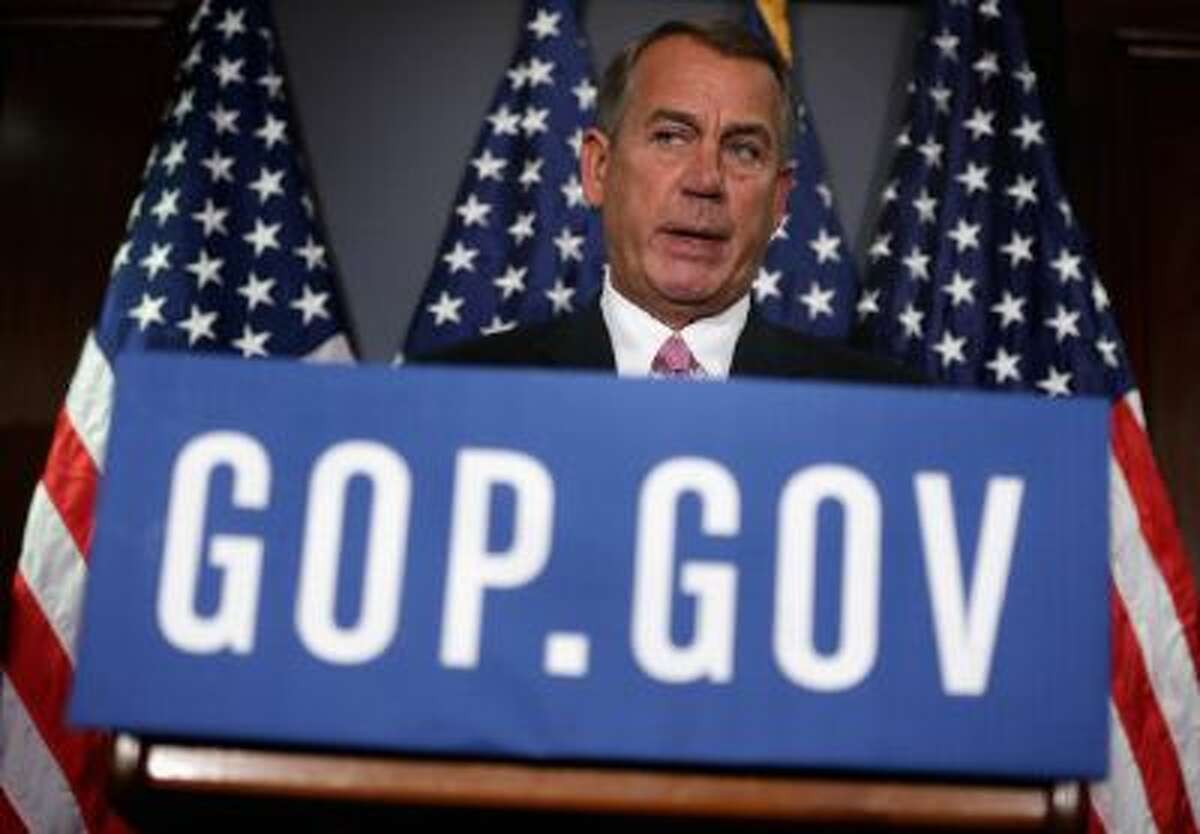 WASHINGTON, DC - MARCH 05: U.S. Speaker of the House Rep. John Boehner (R-OH) speaks during a briefing March 5, 2014 at the headquarters of the Republican National Committee in Washington, DC. House Republicans briefed members of the media after a closed conference meeting. (Photo by Alex Wong/Getty Images)