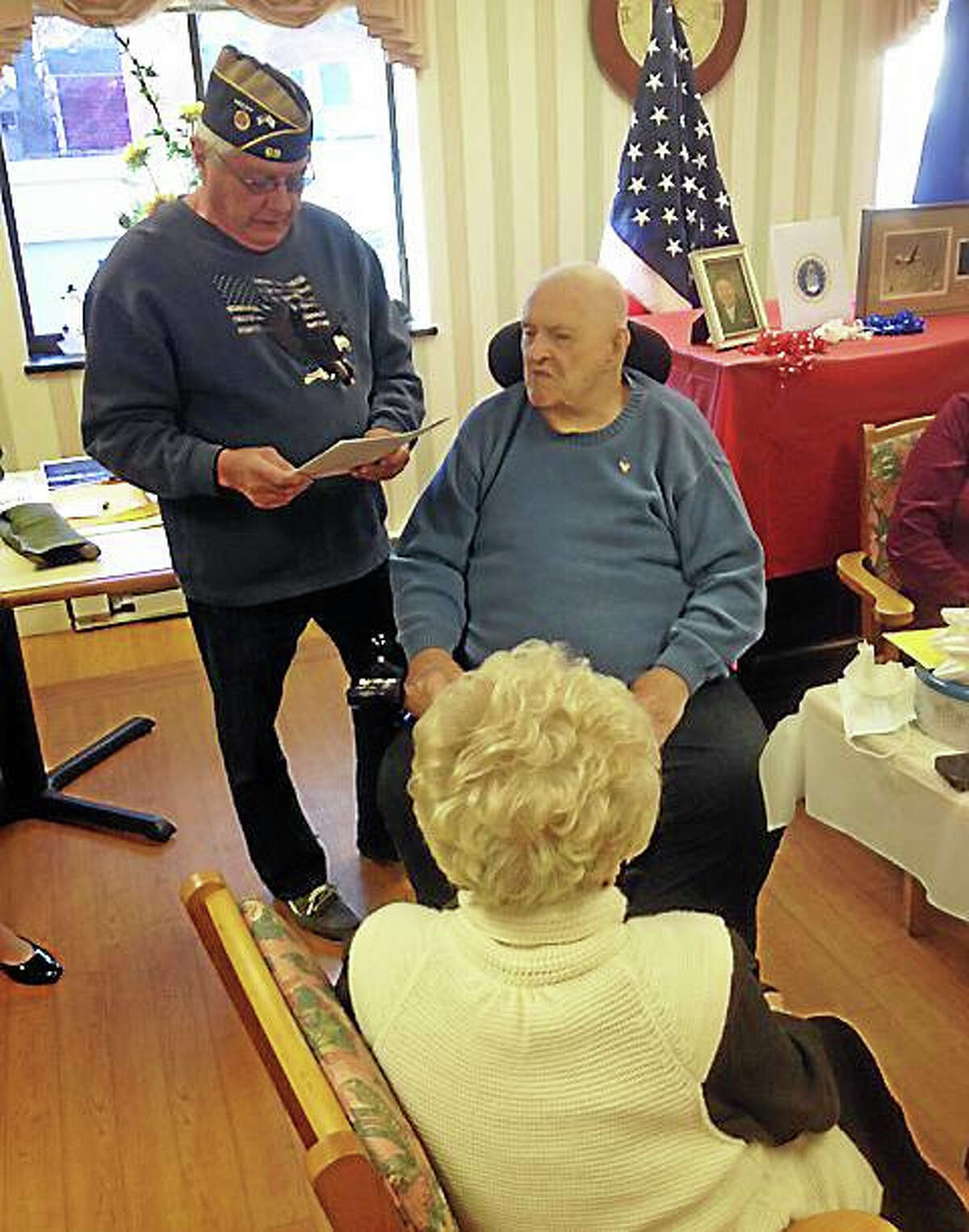 Jeff Mill - The Middletown PressWorld War II veteran at Portland Care in Rehab honored for service time.