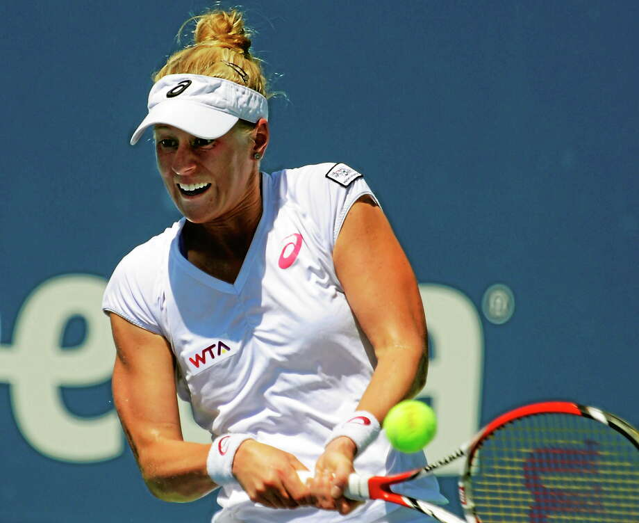 Bob Child / For the Register Alison Riske is the lone American left in the Connecticut Open field. She upset No. 6 Flavia Pennetta 6-1, 7-6 (3). Photo: New Haven Register / New Haven Register
