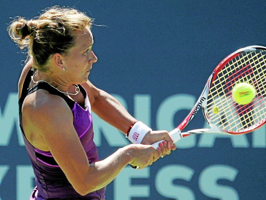 Barbora Zahlavova Strycova defeated Caroline Garcia 7-5, 6-2 on Tuesday afternoon at the Connecticut Open. Photo: Bob Child — For The Register  / New Haven Register