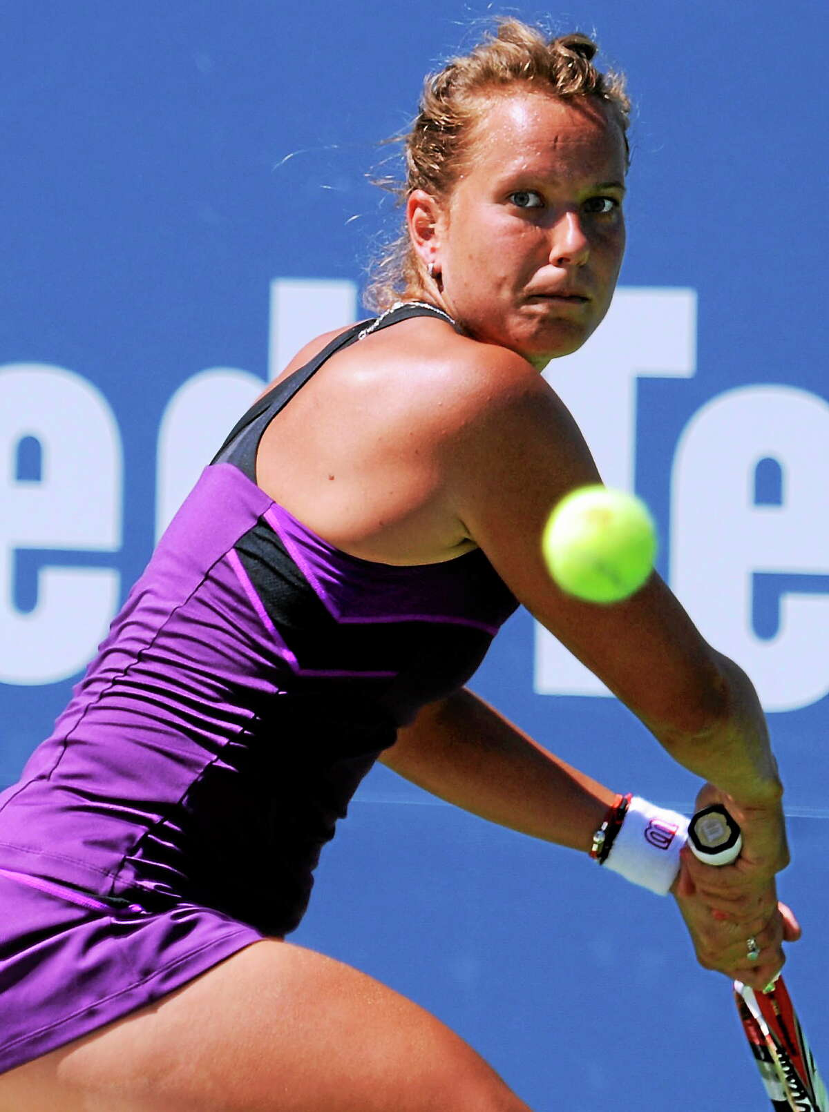 Barbora Zahlavova Strycova defeated Caroline Garcia 7-5, 6-2 on Tuesday afternoon at the Connecticut Open.