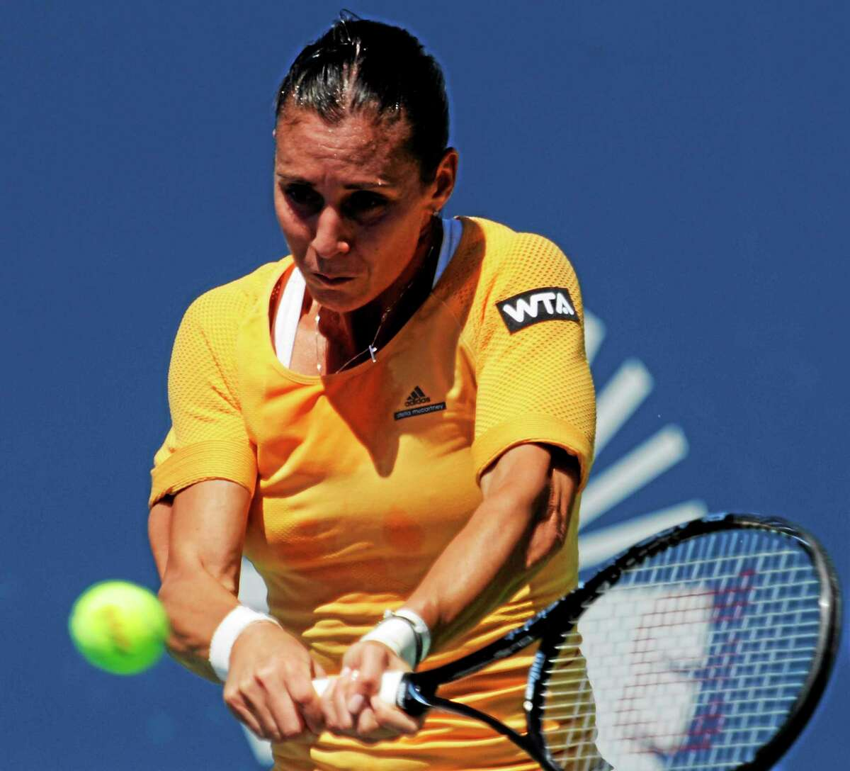 No. 6 Flavia Pennetta was upset by American Alison Riske 6-1, 7-6 (3) on Tuesday at the Connecticut Open at the Connecticut Tennis Center.