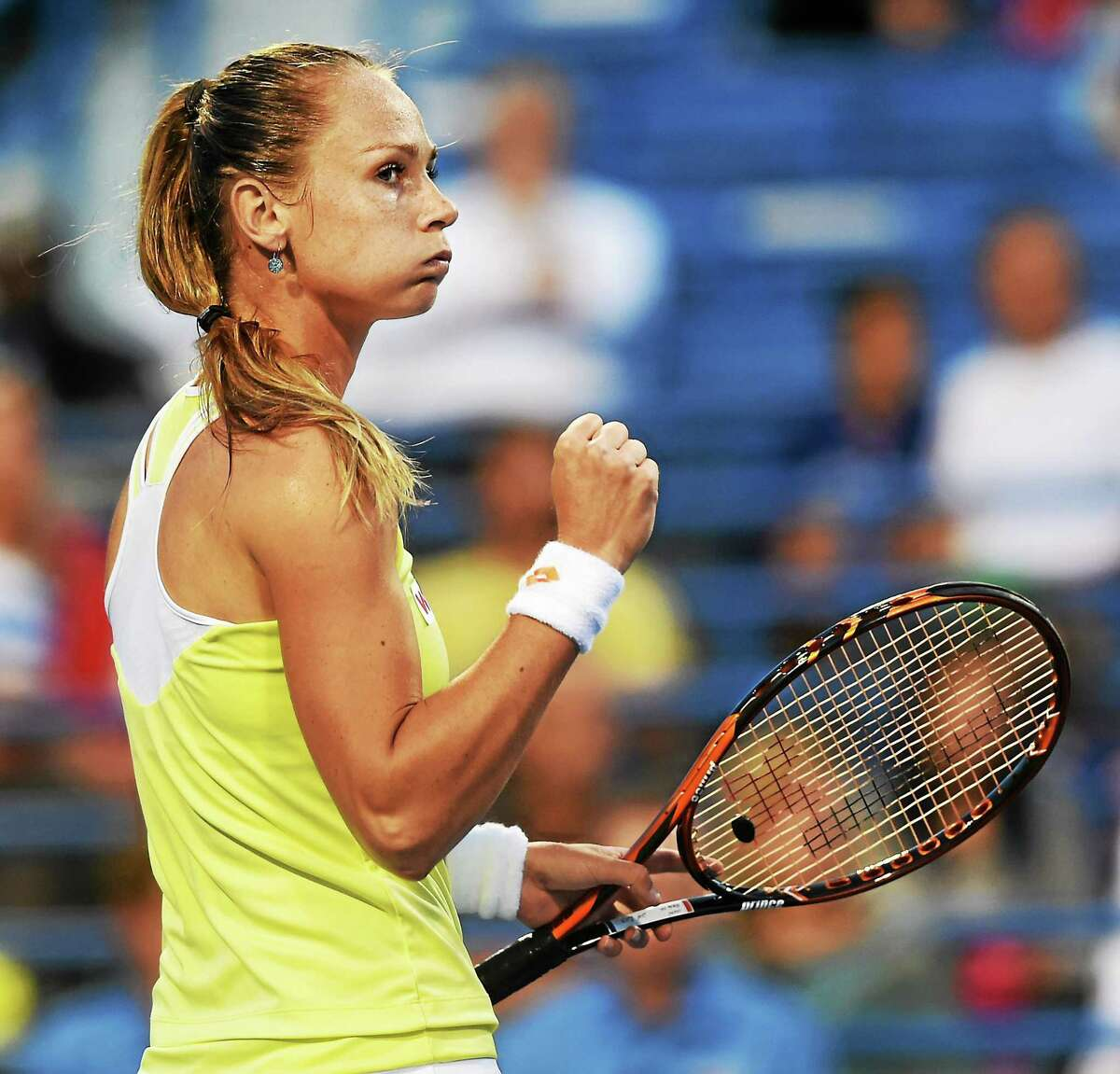 Magdalena Rybarikova defeated the Connecticut Open's top seed and defending champion Simona Halep on Tuesday night at the Connecticut Tennis Center.