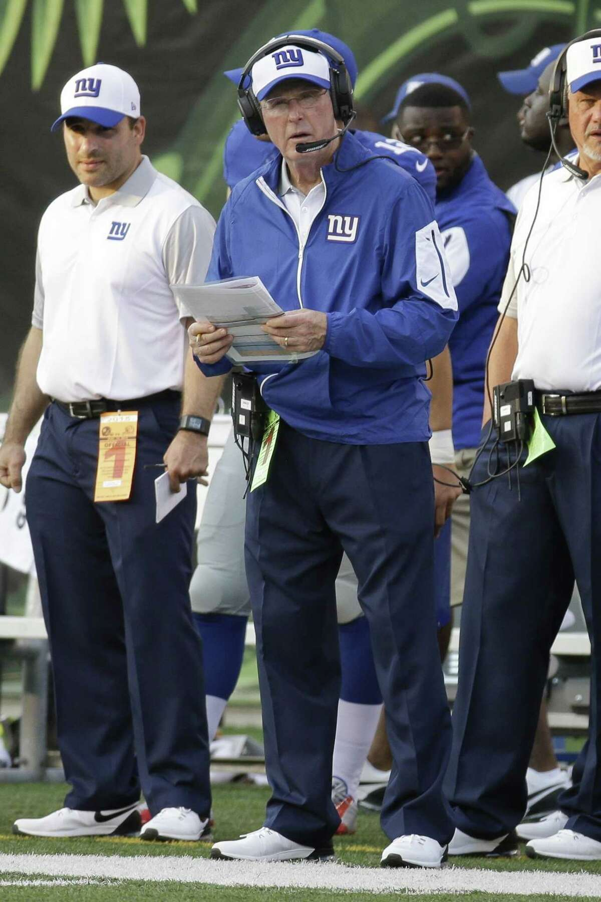 New York Giants head coach Tom Coughlin looks onto the field during Friday's preseason game.