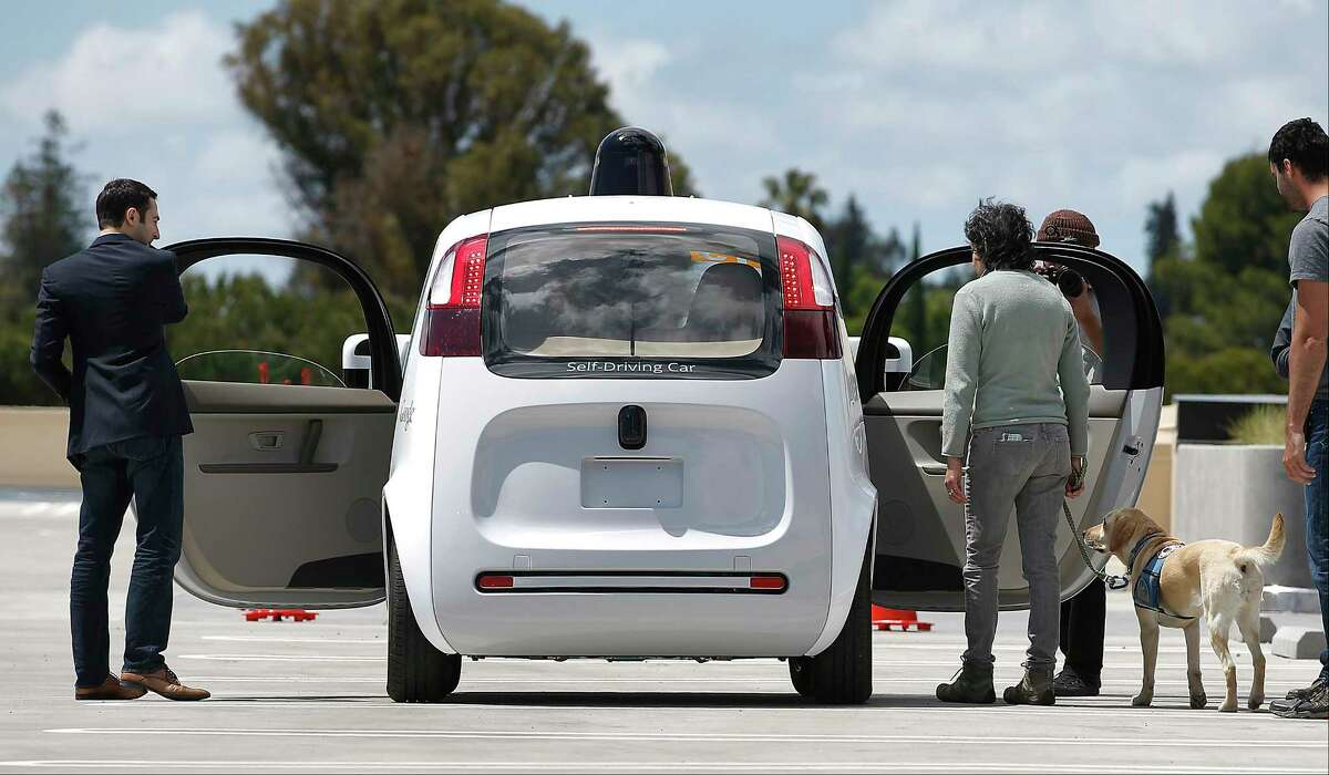 The rear of Google's new self-driving prototype car during a demonstration at the Google campus in Mountain View, Calif. New cars that can steer and brake themselves may lull drivers into a false sense of security.