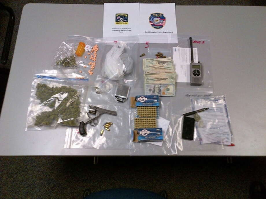 Items seized during a raid on an apartment on Main Street in East Hampton on March 11. Photo: State Police Photo
