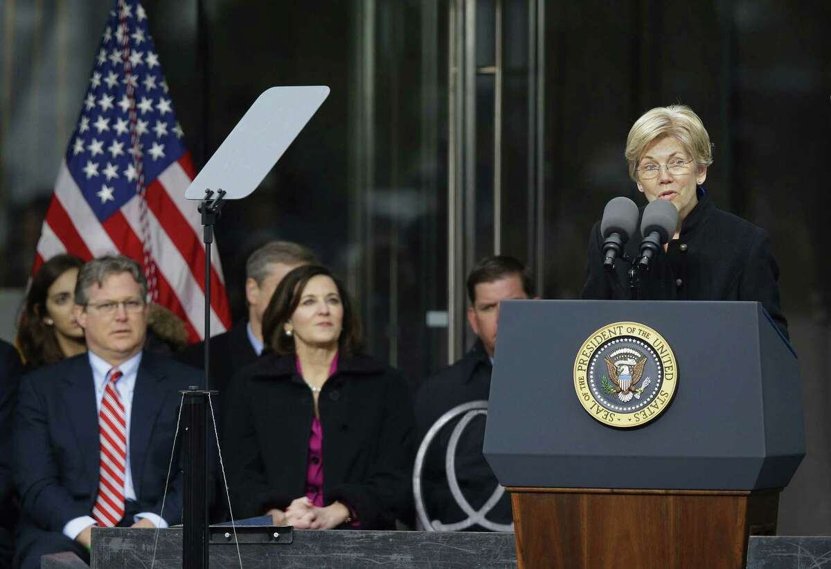 Sen. Elizabeth Warren, D-Mass., speaks during the dedication of the Edward M. Kennedy Institute for the United States Senate March 30 in Boston.