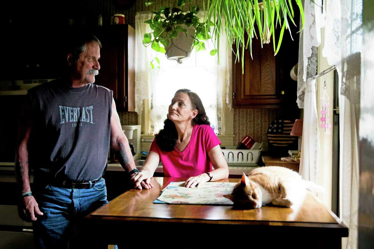 David and Barbara Ludwig of Reading, Pa., shown in this file photo, have been struggling financially ever since losing their manufacturing jobs. Globalization, automation and recession have widened the income gap between rich and poor. Federal Reserve Chair Janet Yellen recently pointed half of Americans now own a mere 1 percent of the nation's household wealth.
