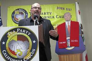 Former Assemblyman Tim Donnelly speaks at the California Tea Party conference in Fresno.
